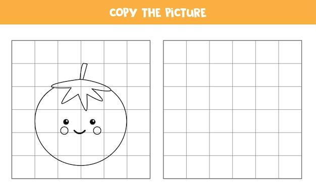 Copia la imagen del lindo tomate rojo kawaii. juego educativo para niños. práctica de escritura a mano.