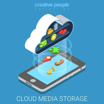 Copia de seguridad de almacenamiento de datos multimedia en la nube isométrica plana