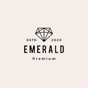 Copia de seguridad de la ilustración de icono de logotipo vintage esmeralda gema hipster