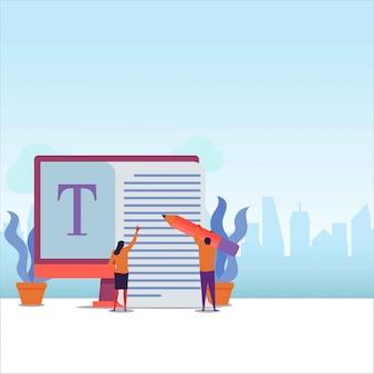 Copiar escritor pareja plana trabajar juntos para escribir en papel grande.