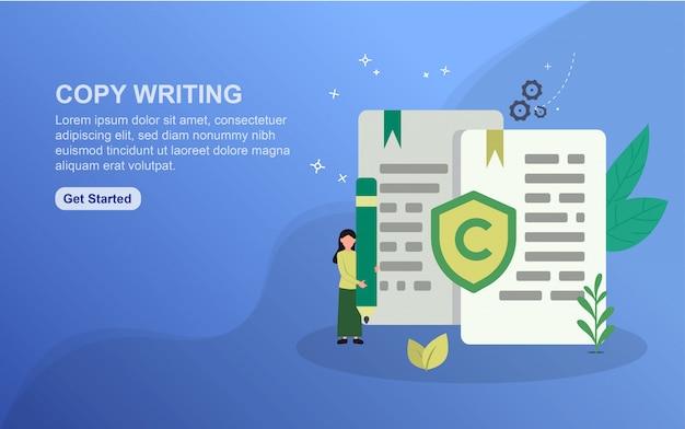Copiar escritura de plantilla de página de destino. concepto de diseño plano del diseño de la página web para el sitio web.