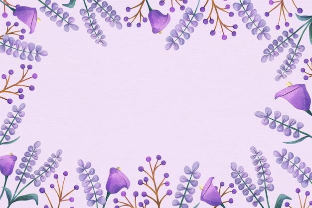 Copiar el espacio de fondo floral violeta pastel