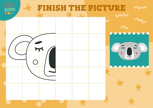 Copiar imagen. juego completo y para colorear para niños en edad preescolar. animal de contorno de dibujos animados para dibujar
