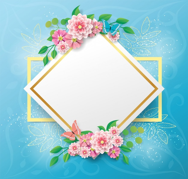 Copie el fondo del espacio con flores y mariposas hermosas y coloridas
