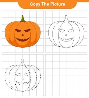 Copie la imagen, trace y coloree, juego educativo para niños, hoja de trabajo imprimible, ilustración