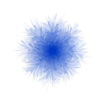 Copo de nieve azul esponjoso sobre fondo blanco.