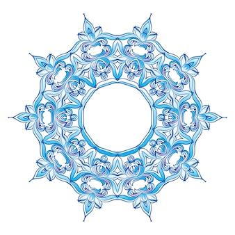 Copo de nieve azul sobre blanco