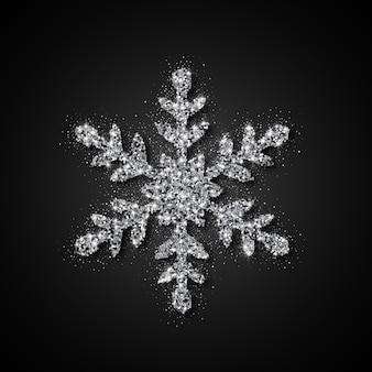 Copo de nieve de brillo plateado. navidad, año nuevo, ilustración