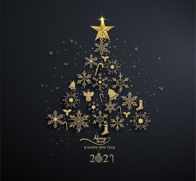 Copo de nieve dorado en árbol de navidad con decoración sobre fondo negro, luz, navidad, feliz año nuevo.