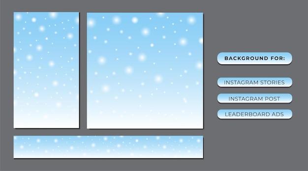 Copo de nieve con fondo azul para historias de publicaciones en redes sociales y anuncios en sitios web
