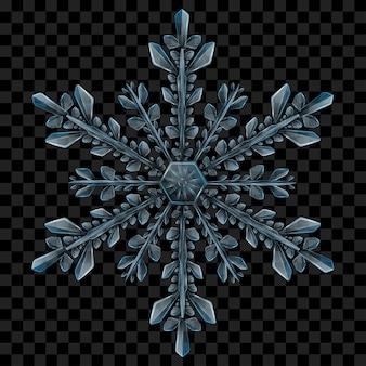 Copo de nieve de navidad translúcido complejo grande en colores azul claro para usar sobre fondo oscuro. transparencia solo en formato vectorial