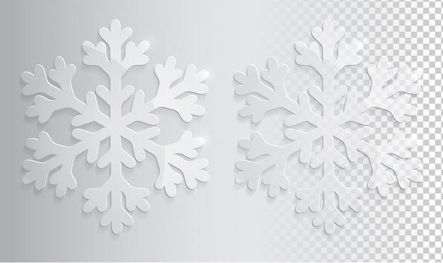 Copo de nieve transparente de vidrio. navidad, vector, ilustración