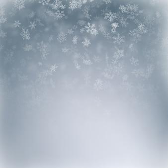Copo de nieve volando, tarjeta o banner con elementos de nieve, copos de dispersión de confeti. símbolos de invierno de clima frío.