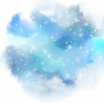 Copos de nieve sobre fondo de acuarela