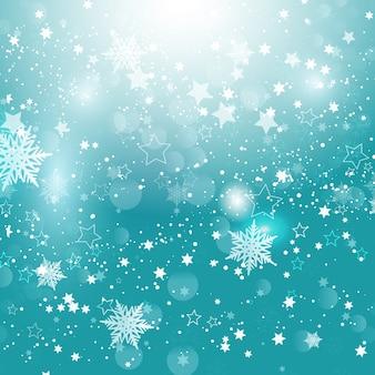 Copos de nieve y estrellas de navidad