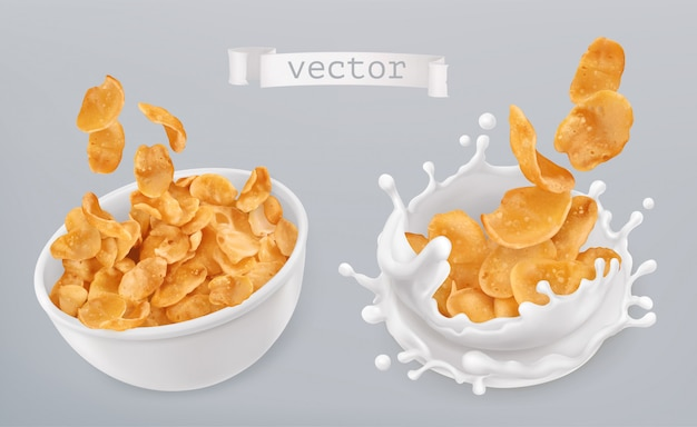 Copos de maíz y salpicaduras de leche. conjunto realista 3d