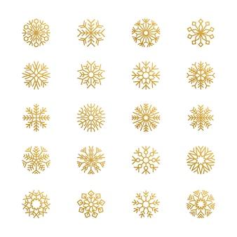 Copos de nieve abstractos. temporada símbolos gráficos elementos del logotipo de nieve