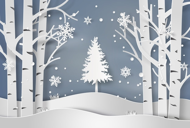 Copos de nieve y árbol de navidad