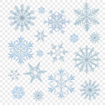 Copos de nieve azul transparente