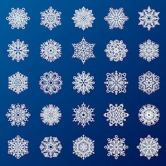 Copos de nieve en azul