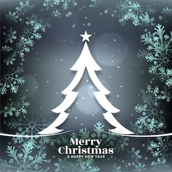 Copos de nieve brillantes feliz navidad fondo brillante con árbol