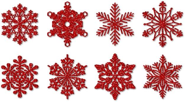 Copos de nieve de brillo rojo
