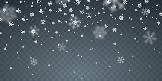 Copos de nieve cayendo sobre fondo azul. nevada