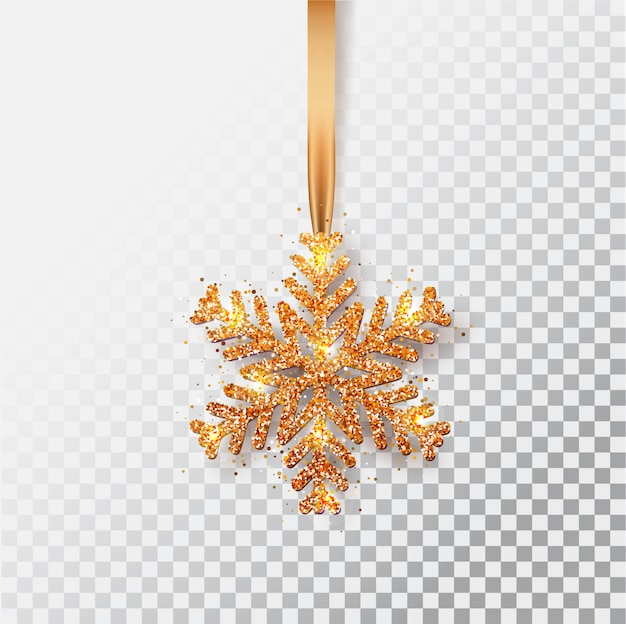 Copos de nieve en una cinta. tarjeta de felicitación, invitación con feliz año nuevo 2021 y navidad. copo de nieve de navidad de bronce metálico, decoración, confeti brillante y reluciente.