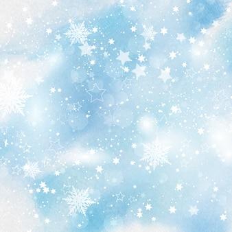 Copos de nieve y estrellas sobre fondo de acuarela
