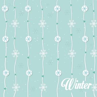Copos de nieve guirnalda de patrones sin fisuras