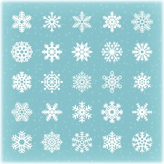 Copos de nieve hermosos del vector del invierno para la tarjeta y los fondos de navidad. cristal de copo de nieve, estrella de invierno congelada colección de nieve ilustración