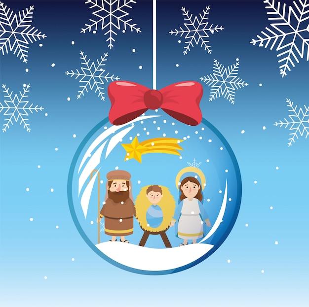 Los copos de nieve mary y joseph con jesus dentro de la bola de cristal