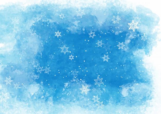Copos de nieve de navidad en textura acuarela