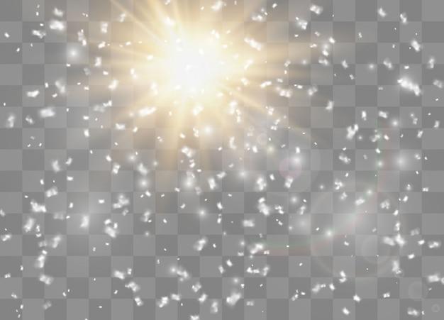 Los copos de nieve, nieve de fondo. efecto de luz resplandor.