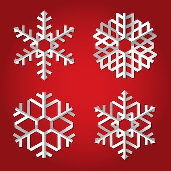 Copos de nieve de origami de navidad en rojo