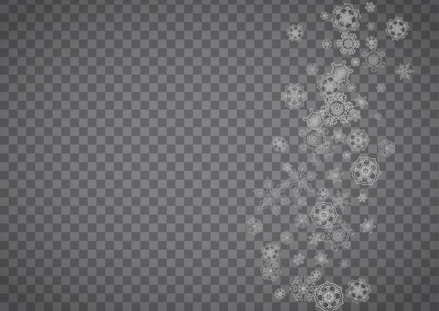 Copos de nieve sobre fondo transparente