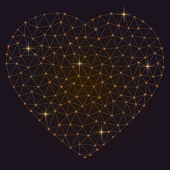 Corazón abstracto poligonal con puntos brillantes y líneas.