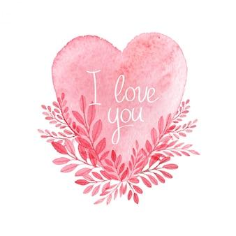 Corazón de acuarela. vector tarjeta de san valentín