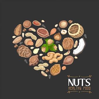 El corazón aislado de nueces y semillas.