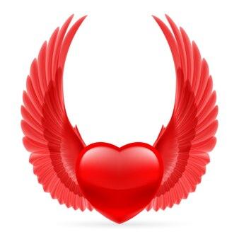 Corazón con alas arriba