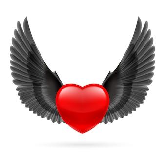 Corazón con alas levantadas