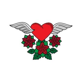 Corazón con alas y rosas de tatoo.