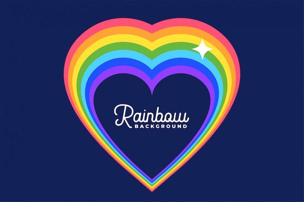 Corazón amor arco iris con fondo de estrella