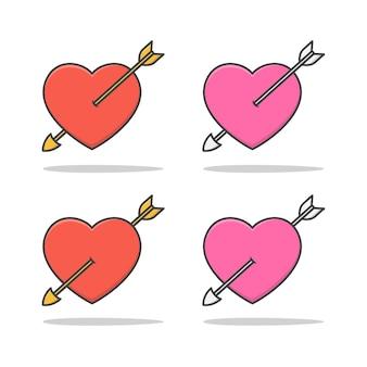 Corazón de amor atravesado por una flecha