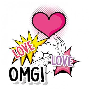 Corazón de amor con mensaje de parche omg