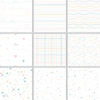 Corazón de arco iris pastel y colección geométrica de patrones sin fisuras