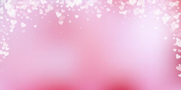 Corazón blanco amor confetis. san valentín cayendo