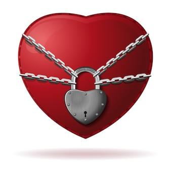 El corazón está bloqueado. el corazón se envuelve con una cadena y se cierra con un candado. corazón rojo bloqueado con cadena. concepto de amor. ilustración