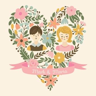 Corazón de boda con flores, la novia y el novio. invitación de boda con lugar para los nombres de los recién casados.