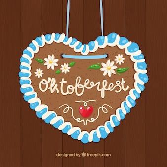 Corazón bonito con flores para celebrar el oktoberfest